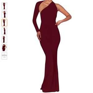 Wine Red Backless One Shoulder Evening Long Dress